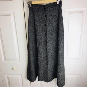 Vtg Long Button Up Skirt Boho Chic Modern Hippie